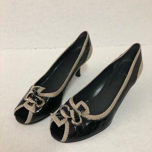 Stuart Weitzman black peep toe bow pumps size 10